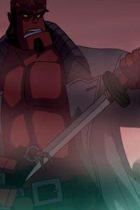 Helloboy wields a katana in the fog.