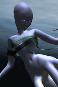 A slender blue woman with tentalces for legs floats in the ocean.
