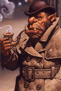 An orc in a trench coat and a bowler hat smokes a large pipe.