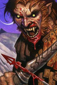 A werewolf with bared fangs and a bloody face draws an blood-soaked arrow.
