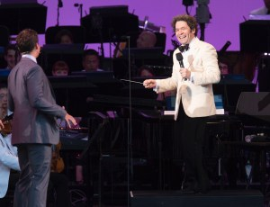 """Jonathan Groff and Gustavo Dedamel at """"Sondheim on Sondheim"""" @ The Hollywood Bowl 7/23/17. Photos by Craig T. Mathew and Greg Grudt/Mathew Imaging. Used with permission."""