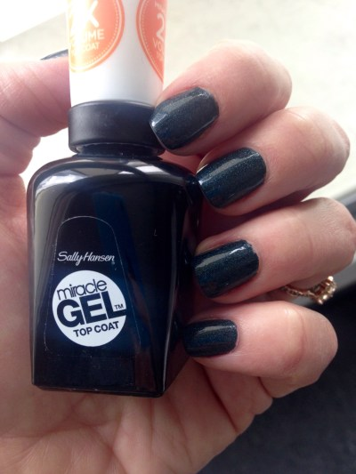sally hansen miracle gel top coat, orly bonder, avon nail polish cosmic eclipse, chip-free manicure, manicure monday, nice nails