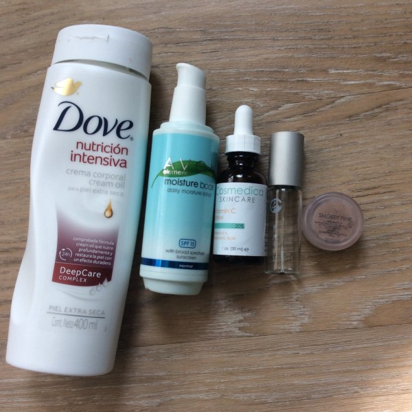 I review Dove Intensive Nutrition body lotion, Avon Elements Moisture Boost, Cosmedica vitamin C serum, Avon Haiku, Everyday Minerals Smokey Pink eyeshadow