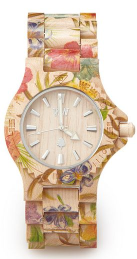 uncommon goods floral wood watch