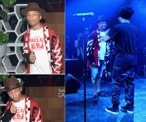 Pharrell Williams in Red Cardigan and Stetson Hat at Samsung Galaxy III and Lupe Fiasco