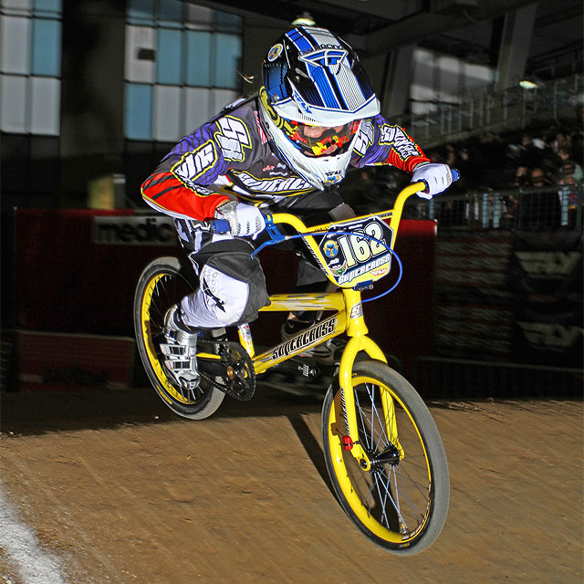 Supercross' Dani George putting the 20mm through axle through it's paces