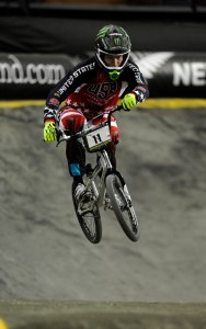 Connor Fields (USA) in action in the Mens Elite time trial at the ICU BMX World Championships at Vector Arena, Auckland, Saturday July 27, 2013. (Picture Ross Land)