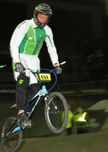 Ireland's Kelvin Batey in action on the way to winning the Masters title at the UCI BMX World Championships at Vector Arena, Auckland tonight