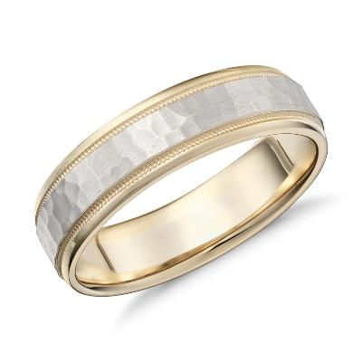 14k gold hammered milgrain milgrain wedding band Hammered Milgrain Comfort Fit Wedding Ring in 14k Yellow and White Gold 6mm