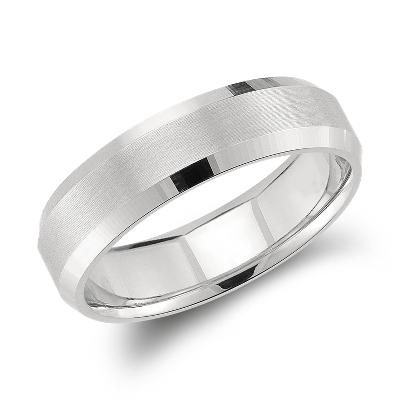 beveled edge wedding ring platinum 6 mm mens wedding band Beveled Edge Matte Wedding Ring in Platinum 6mm