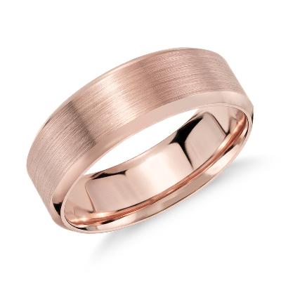 brushed beveled wedding ring rose gold rose gold wedding rings Brushed Beveled Edge Wedding Ring in 14k Rose Gold 7mm