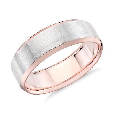 brushed beveled wedding ring white rose gold rose gold wedding rings Brushed Beveled Edge Wedding Ring in 14k White and Rose Gold 7mm