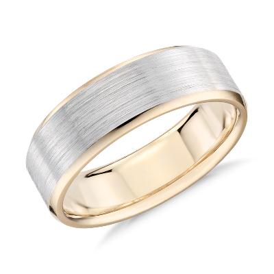 brushed beveled wedding ring white yellow gold yellow gold wedding bands Brushed Beveled Edge Wedding Ring in 14k White and Yellow Gold 7mm