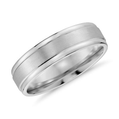 brushed inlay wedding ring 14k white gold mens titanium wedding rings Brushed Inlay Wedding Ring in 14k White Gold 6mm