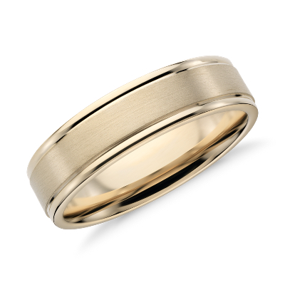 brushed inlay wedding ring 14k yellow gold gold mens wedding bands Brushed Inlay Wedding Ring in 14k Yellow Gold 6mm