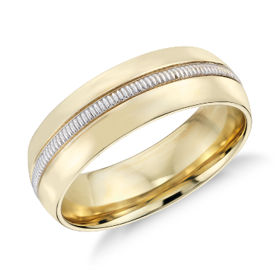 colin cowie mens milgrain wedding ring platinum 18k gold wedding bands men Colin Cowie Men s Milgrain Inlay Wedding Ring in 18k Yellow Gold and Platinum
