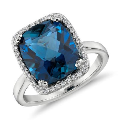 cushion cut sky blue topaz diamond ring 14k white gold blue topaz wedding band Sky Blue Topaz and Diamond Halo Cushion Cut Ring in 14k White Gold mm