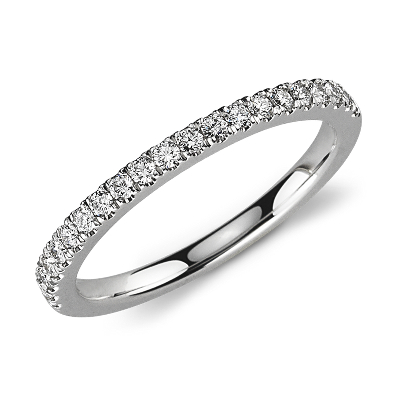 diamond ring white gold womens diamond wedding bands Petite Pav Diamond Ring in 14k White Gold 1 3 ct tw