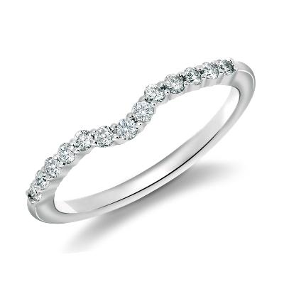 diamond wedding ring diamond wedding band Classic Curved Diamond Wedding Ring in 18k White Gold 1 4 ct tw