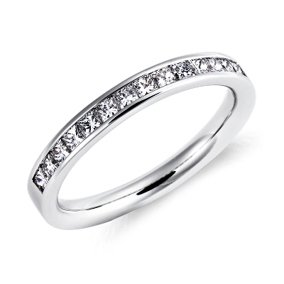 womens wedding rings infinity diamond wedding band Channel Set Princess Cut Diamond Ring in Platinum 1 2 ct tw