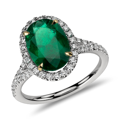 emerald diamond halo ring in platinum emerald wedding rings Oval Emerald and Diamond Ring in Platinum 3 01 cts