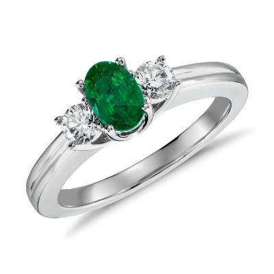 emerald diamond ring emerald wedding rings Petite Emerald and Diamond Ring in 18k White Gold mm