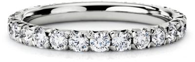 french pave diamond eternity ring platinum 1 ct eternity wedding band French Pav Diamond Eternity Ring in Platinum 1 ct tw