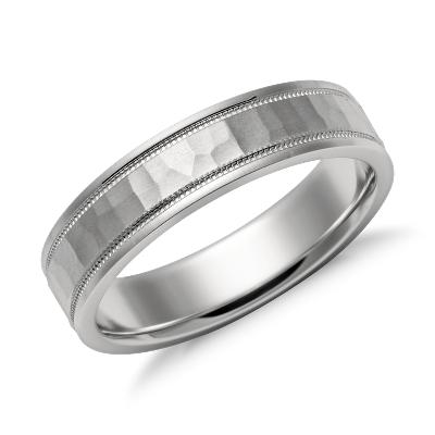 hammered milgrain comfort fit ring platinum milgrain wedding band Hammered Milgrain Comfort Fit Wedding Ring in Platinum 5mm