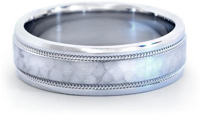 hammered milgrain comfort fit wedding ring platinum tungsten hammered wedding band Hammered Milgrain Comfort Fit Wedding Ring in Platinum 6mm
