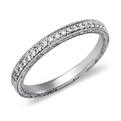 top ten womens wedding rings wedding rings for women Hand Engraved Micropav Diamond Ring in 14k White Gold 1 5 ct tw