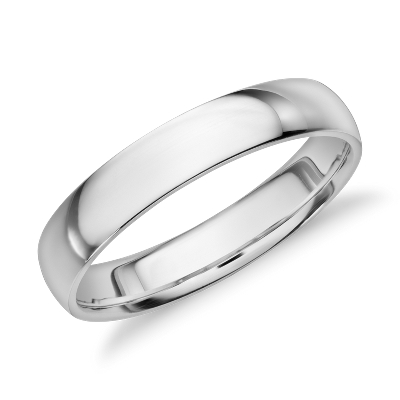 high dome wedding ring 14k white gold 4 mm white gold wedding band Mid weight Comfort Fit Wedding Band in 14k White Gold 4mm