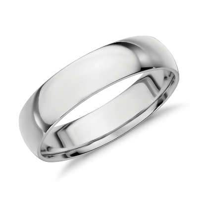 high dome wedding ring 14k white gold 5 mm wedding ring with band Mid weight Comfort Fit Wedding Band in 14k White Gold 5mm