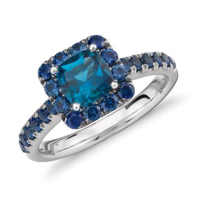 london blue topaz sapphire ring 18k white gold blue topaz wedding band Blue Nile Studio London Blue Topaz and Sapphire Halo Ring in 18k White Gold 6mm