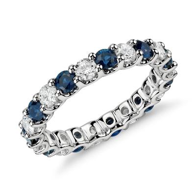 eternity sapphire wedding bands Luna Sapphire and Diamond Eternity Ring in Platinum 1 ct tw