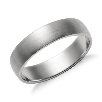 matte low dome wedding ring platinum 5 mm wedding rings Matte Classic Wedding Ring in Platinum 5mm