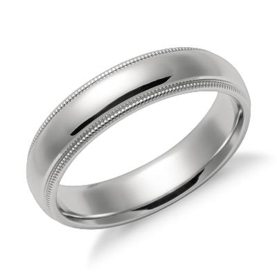 mens wedding rings guys wedding rings Milgrain Comfort Fit Wedding Ring in Platinum 5mm