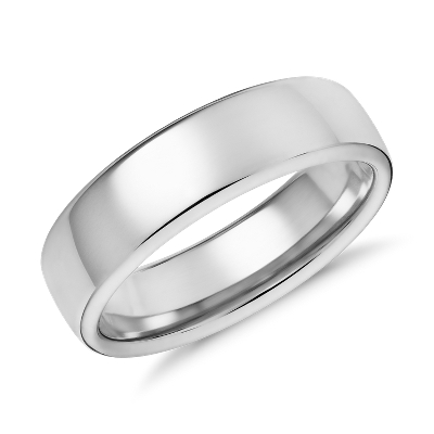 modern comfort fit wedding ring white gold white gold wedding band Modern Comfort Fit Wedding Ring in 14k White Gold 6 5mm