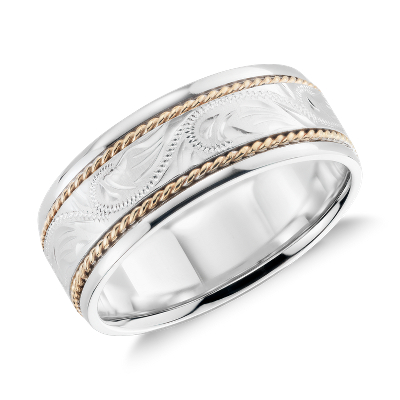 paisley wedding ring 14k white yellow gold white gold wedding bands Two Tone Paisley Wedding Ring in 14k White Gold and Yellow Gold 8mm
