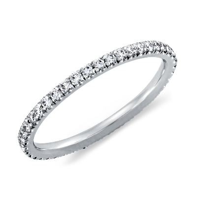 pave diamond eternity ring platinum eternity wedding bands French Pav Diamond Eternity Ring in Platinum 3 8 ct tw