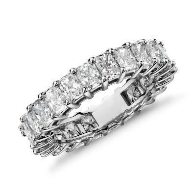 radiant cut diamond eternity ring platinum infinity diamond wedding band Radiant Cut Diamond Eternity Ring in Platinum 5 ct tw