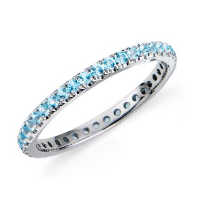 riviera blue topaz white gold ring blue topaz wedding band Riviera Pav Blue Topaz Eternity Ring in 18k White Gold