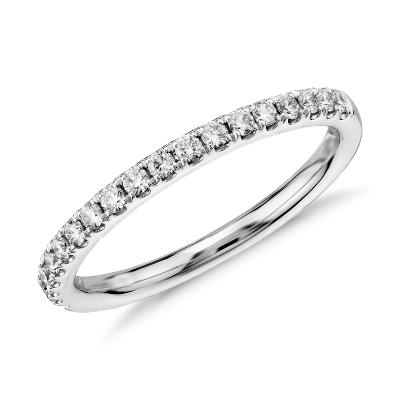 womens wedding rings platinum diamond wedding bands Riviera Pav Diamond Ring in 14k White Gold 1 4 ct tw