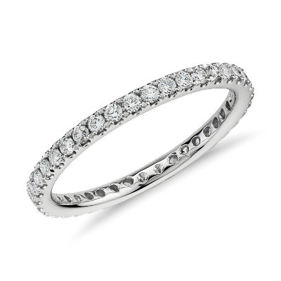 riviera petite pave eternity diamond ring platinum eternity wedding bands Riviera Pav Diamond Eternity Ring in Platinum 1 2 ct tw