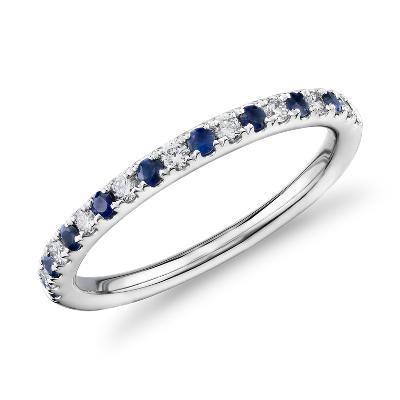 sapphire rings sapphire wedding bands Riviera Pav Sapphire and Diamond Ring in Platinum 1 5mm
