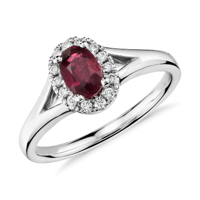 ruby diamond ring ruby wedding rings Oval Ruby and Diamond Halo Ring in 18k White Gold mm