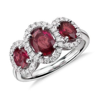 ruby jewelry ruby wedding rings 3 Stone Oval Ruby and Diamond Ring in 18k White Gold mm