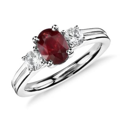 ruby diamond ring white gold ruby wedding rings Ruby and Diamond Ring in 18k White Gold mm