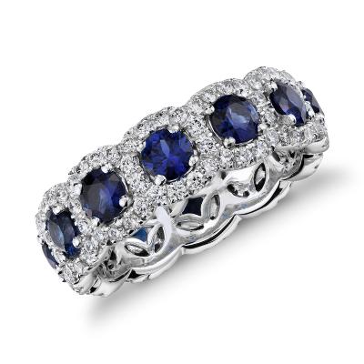 sapphire diamond halo eternity ring 18k white gold sapphire wedding bands Sapphire and Diamond Halo Eternity Ring in 18k White Gold