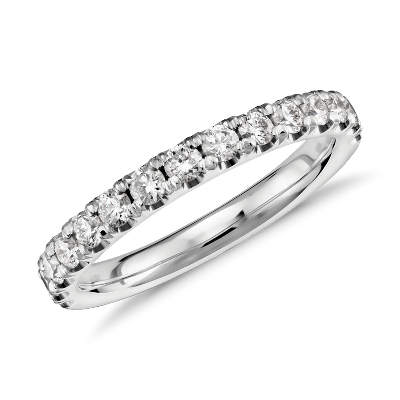 scalloped pave diamond wedding band platinum womens diamond wedding bands Scalloped Pav Diamond Ring in Platinum 1 2 ct tw
