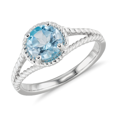 swiss blue topaz ring sterling silver blue topaz wedding band Swiss Blue Topaz Rope Ring in Sterling Silver 7mm